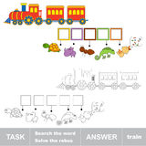 Search the word TRAIN. Find hidden word. Task and answer. Game for children. Rebus kid riddle game Royalty Free Stock Photography