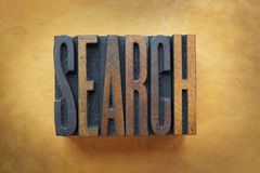 Search. The word SEARCH written in vintage letterpress type stock photography