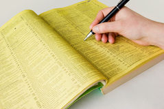 Search yellow pages stock photos