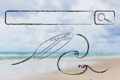 Search for your next holiday destination. Holiday planning, surfboard and search bar on beach background Stock Image