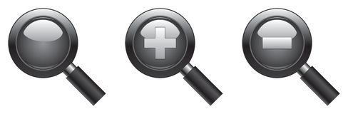 Search&ZoomIcons. Magnifying glass icons - zoom tool, that can be used as well as a search or fit to screen button, magnify and scale down Royalty Free Stock Photo