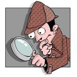 Searcher. A detective searching for something with magnifying glass Royalty Free Stock Photo