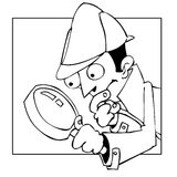 Searcher. A detective searching for something with magnifying glass Royalty Free Stock Photos