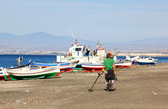 Searcher for metals along Spanish coast, Andalusia Royalty Free Stock Photography