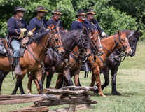 The Searchers. Civil War era soldiers in battle at the Dog Island reenactment in Red Bluff, California royalty free stock images