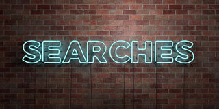 SEARCHES - fluorescent Neon tube Sign on brickwork - Front view - 3D rendered royalty free stock picture. Can be used for online banner ads and direct mailers Stock Photography