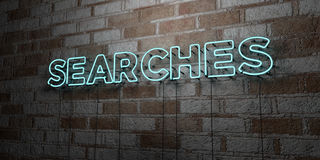 SEARCHES - Glowing Neon Sign on stonework wall - 3D rendered royalty free stock illustration. Can be used for online banner ads and direct mailers Royalty Free Stock Images