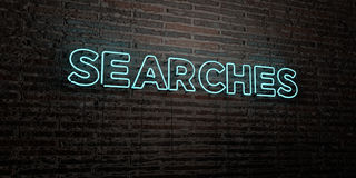 SEARCHES -Realistic Neon Sign on Brick Wall background - 3D rendered royalty free stock image. Can be used for online banner ads and direct mailers Stock Photo