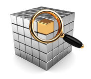 Searching. Abstract 3d illustration of magnify glass and cube, data searching concept Stock Photography