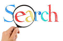 Searching. Magnifying glass search on internet Royalty Free Stock Image