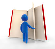 Searching. Abstract blue figure browsing through the giant book. Concept of education or searching Stock Images