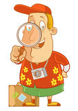 Searching. Abe The Tourist - Searching into magnification glass Royalty Free Stock Photo