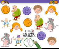 Searching activity task for kids. Cartoon Illustration of Find Exactly the Same Pictures Educational Activity Task for Preschool Children Stock Photos
