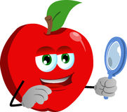 Searching apple with magnifying glass Stock Photo