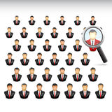 Searching best of the best Businessman. Vector Illustration of searching one the best of lots employee using a magnifying glass Stock Images
