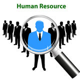 Searching for the best candidate with a magnifying glass - hiring for a job concept - Flat style.  Royalty Free Stock Photos