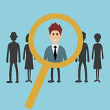 Searching for the best candidate. With a magnifying glass - hiring for a job concept - vector Royalty Free Stock Images