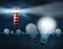 Searching For The Best Ideas. And inventions as business solutions to economic challenges with a light house shinning a beam looking for light bulbs in the Royalty Free Stock Images