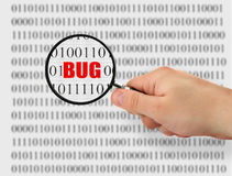 Searching for bug. Concept of searching for a bug, binary code is abstract royalty free stock image