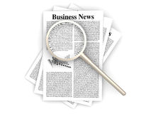 Searching for business news. Looking for the latest business news. 3d rendered Illustration. Isolated on white Royalty Free Stock Photography