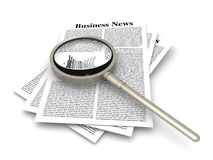 Searching for business news. Looking for the latest business news. 3d rendered Illustration. Isolated on white Stock Photos
