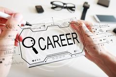 Searching career theme with a notebook. Searching career theme with man writing in a notebook stock photos