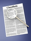 Searching the Classifieds. 3D rendered Illustration. A sheet of classifieds Royalty Free Stock Photography
