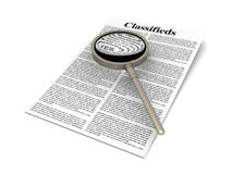 Searching the Classifieds. 3D rendered Illustration. A sheet of classifieds Royalty Free Stock Images