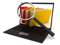 Searching the Computer. Search of computer folders. 3D render Royalty Free Stock Photos
