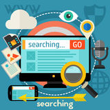 Searching Concept. Banner. Square composition, vector illustration Royalty Free Stock Image