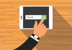 Searching concept use tab or pad. Mobile platform Stock Photography