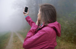 Searching connection in foggy day Stock Photos