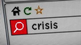 Searching for crisis. On the Internet. Typing keyword in www browser on computer, smartphone or tablet. Close view of screen display with pixels stock video