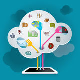 Searching data from Cloud illustration Stock Images