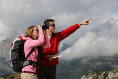 Searching the destination and showing the direction in the mount Royalty Free Stock Images