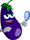 Searching eggplant with magnifying glass Royalty Free Stock Photography
