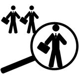 Searching for an employee. Concept illustration showing a magnifying glass finding a worker suitable for a job position Stock Photography