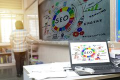 Searching Engine Optimizing. SEO Browsing Concept Royalty Free Stock Images