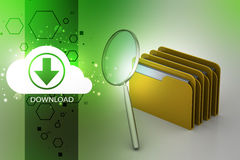 Searching file folder. In color background Stock Images