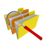 Searching for files. Three folders and magnifying glass Royalty Free Stock Photo