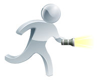Searching flashlight man Stock Images