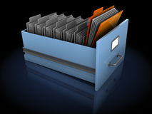 Searching for folder. 3d illustration of many archive folders with one selected Stock Image