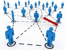 Searching friends in social network. Abstract connected people and magnifier Stock Images