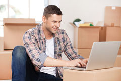 Searching a good moving company. Royalty Free Stock Photos