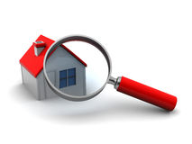 Searching for home. Abstract 3d illustration of house and magnify glass Royalty Free Stock Photography