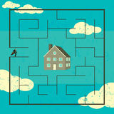 Searching for a Home. A man searching through a maze to find his new home. The man, maze and home are on a separate labeled layer from the background vector illustration