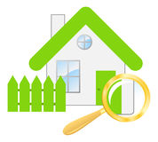 The searching a house. Vector illustration, isolated on a white stock illustration