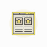 Searching house via internet icon. Vector find real estate colorful sign Royalty Free Stock Image