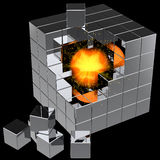 Searching. I have found it!. Data cube assembling from blocks with shiny orange sphere and many little sparks inside. Global search concept. This is a detailed Royalty Free Stock Photography