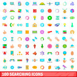 100 searching icons set, cartoon style Stock Photography